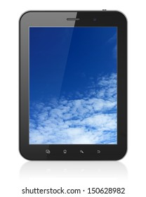Black tablet pc computer with Sky on display. Modern portable touch pad on White background, 3d render