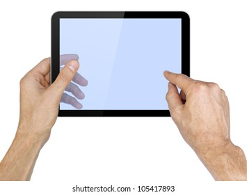Black tablet pc in hands on white background. Portable computer