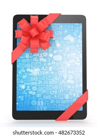Black tablet with red bow and blue screen. 3D rendering.