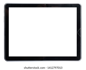 Black tablet white background without screen