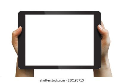 Black tablet in woman's hands isolated on white in horizontal mode, ipade style