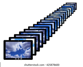 black tablets in row with different images of sky isolated