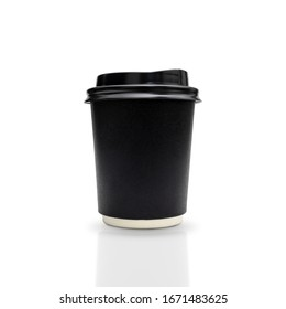Black takeaway coffee cup isolated on white background. with clipping paths.