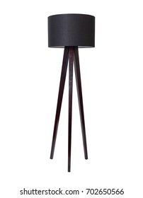 Black Tall Floor Lamp isolated on white background
