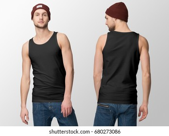 Black Tank Top on a young man in jeans and hat, isolated, front and back, mockup.
