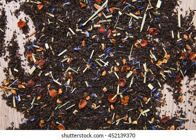 Black tea with additives background