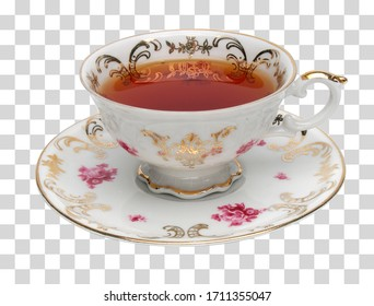 Black tea in antique tea cup on transparent isolated background including clipping path