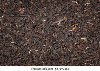 Black tea blend background up-close