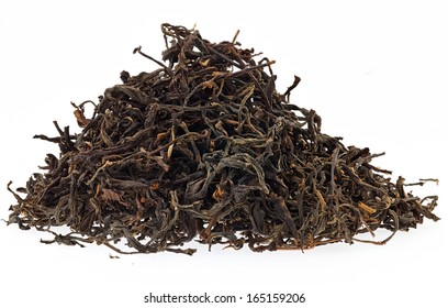black tea leaves isolated on white