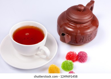 black tea with marmalade, black tea, marmalade, jelly, sugar, hot, chinese, teapot, cup, tea, drink, morning, pleasure