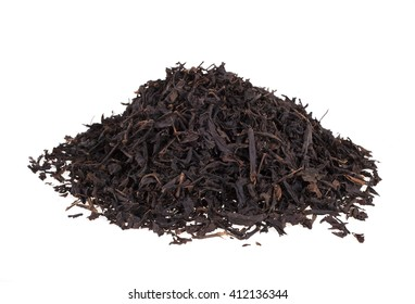 Black tea on a white background