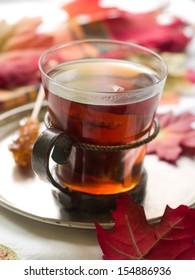 Black tea with sugar, selective focus