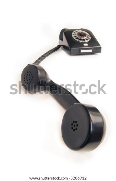 black telephone, isolated on white