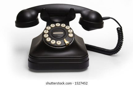 black telephone on white