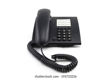 a black telephone on white background