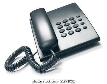 Black telephone on a white background