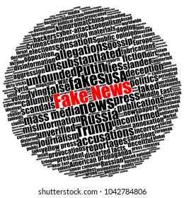 Black text with red fake news in round circular word cloud isolated on white