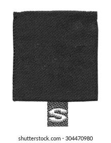 black textile label on isolated on white background