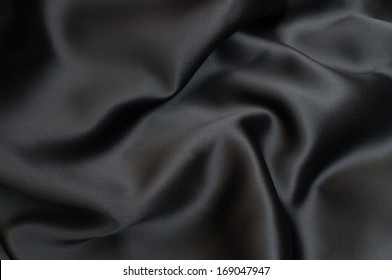 Black Texture - Dark Wavy Glossy Silk Drapery - Shallow Depth of Field