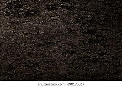 Black textures of a burnt tree. Texture of coal.