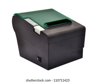 black thermal printer on a white background