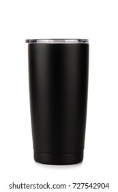 Black thermos bottle, Tumbler glass on white background