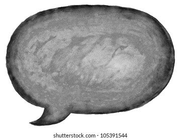Black tint empty watercolor speech bubble dialog shape on white background. Handmade texture aquarelle.