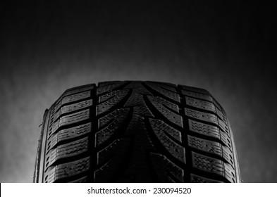 Black tire in studio