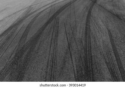 Black tire track on racing track, tire mark, skid mark.
