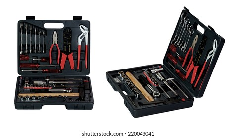 Black toolbox with different instruments isolated on white