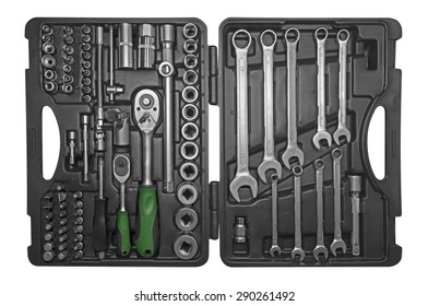 Black toolbox with different instruments isolated on white. Clipping path included.
