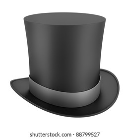 black top hat with gray strip isolated on white background