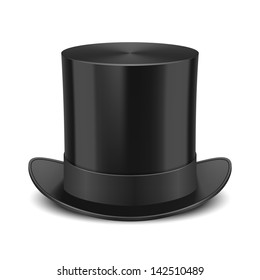 Black Top Hat illustration isolated on white background. See also vector version
