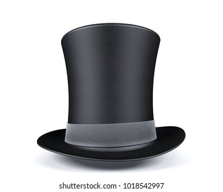 Black top hat with leather grey ribbon isolated on white background, 3D rendering