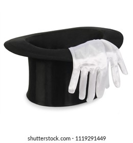 Black top hat with a pair of white gloves isolated on white background