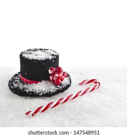 black top hat snowman with Cane, christmas card isolated on white snow background