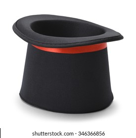Black Top Hat Upside Down Isolated on White Background.