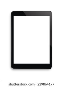 Black touch screen tablet in iPad style with blank screen area for copy space.