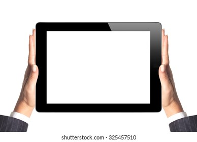 Black Touch Screen Tablet in woman hands on white background