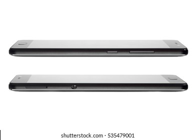 The black touch smartphone with strict design. mobile phone side view on a white background, nobody.