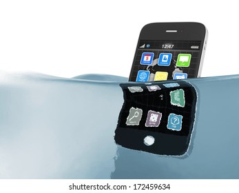 Black touchscreen smartphone in water isolated on white background