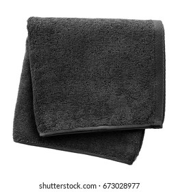Black towel isolated on white background