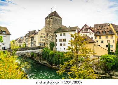 The Black Tower and Aare river in Brugg old town
