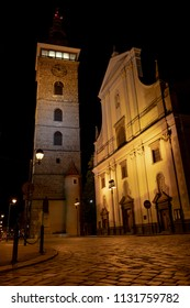 The Black Tower and the Cathedral of St. Nicholas in Budweis at night
