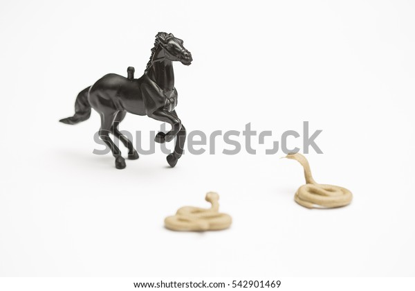 Black toy horse threatened by two snakes