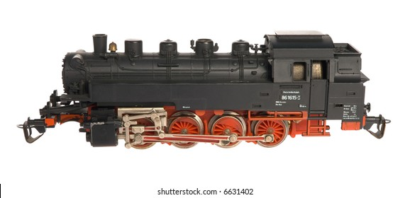 Black toy locomotive isolated
