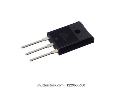 Black transistor with three pins on white background