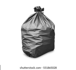 Black trash bag on white background