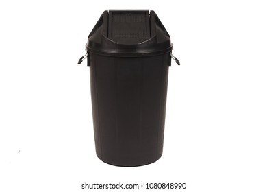 Black trash can (garbage bins) isolate on white background.