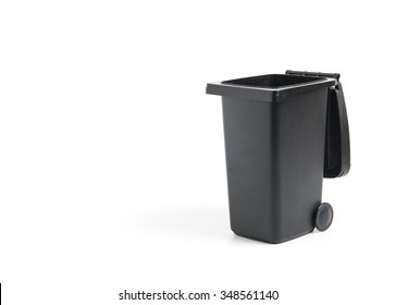 Black trash container isolated on white, garbage bin